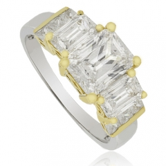 3 Emerald Cut Stone Silver Engagement Ring