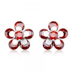 Beautiful Red Flower Shaped Swarovski Crystal Earrings