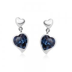 Blue Heart Shaped Swarovski Crystal Drop Earrings