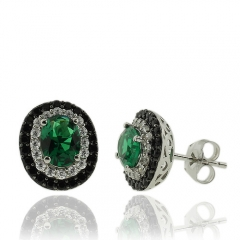 Oval Cut Emerald Earrings With Simulated Diamonds and Sterling Silver