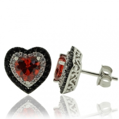 Heart Shape Fire Opal Earrings With Sterling Silver
