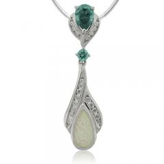 Pear Cut Alexandrite withe opal Silver Pendant
