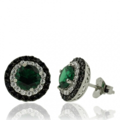 Beautiful Sterling Silver Earrings With Round Cut Emerald