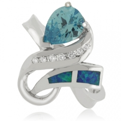 Australian Opal and Topaz Silver Ring