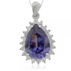 Drop-Cut Silver Pendant with Tanzanite & Zirconia Gemstones