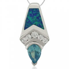 Great Pear Cut Blue Topaz and Opal Silver Pendant