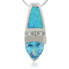 Great Blue Topaz and Opal Silver Pendant