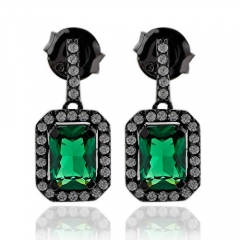 Precious Emerald Earrings With Simulated Diamonds
