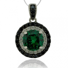 Round Cut Emerald Pendant With Simulated Diamonds And Sterling Silver