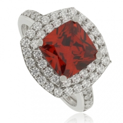 Fire Cherry Opal Silver Ring with CZ