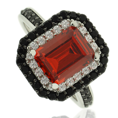 Emerald Cut Fire Opal Ring With Simulated Diamonds