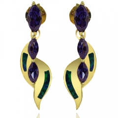 Gold Plated Earrings with Australian Opal and 3 Stone Tanzanite Gemstones in Marquise Cut
