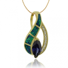 Wonderful Gold Plated Pendant With Marquise Cut Tanzanite and Australian Opal