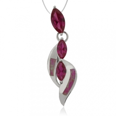 Opal and Ruby Sterling Silver Pendant