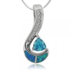 Trillion Cut Blue Topaz and Opal Sterling Silver Pendant