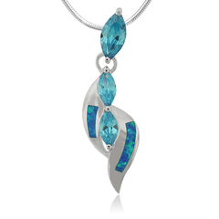 Opal and Swiss Blue Topaz Sterling Silver Pendant