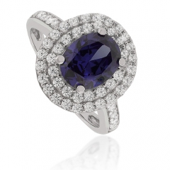 Oval-Cut Tanzanite Sterling Silver Ring