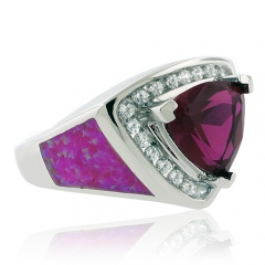 Pink Opal and Trillion Cut Ruby Silver Ring