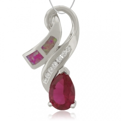 Pendant with Ruby and Pink Opal in Sterling Silver