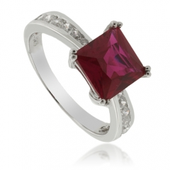 Red Ruby Engagement Sterling Silver Ring