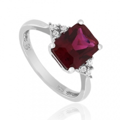 Emerald Cut Red Ruby 925 Silver Ring