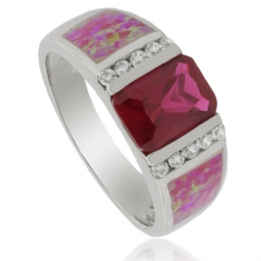 Emerald Cut Ruby and Pink Opal Ring in Silver