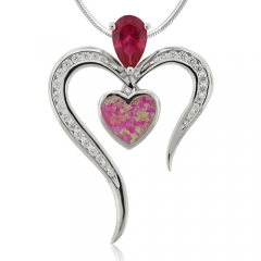 Heart Shape Ruby and Opal Silver Pendant