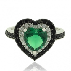 Sterling Silver ring with Hearth Shape Emerald and Simulated Diamonds