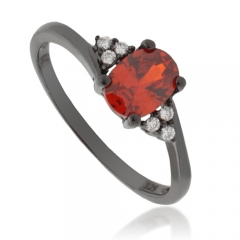 Engagement Fire Opal .925 Oxidized Silver Ring