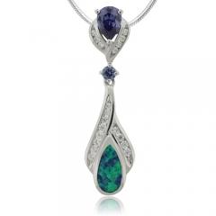 Silver Tanzanite and Opal Pendant.