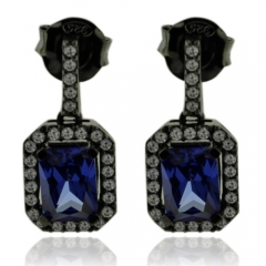 Emerald Cut Tanzanite Earrings with Zirconia In Black Silver.