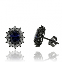 Beautiful Oval Cut Tanzanite Earrings with Zirconia In Black Silver.