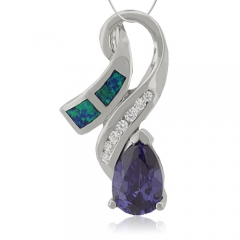 Silver Pendant With Tanzanite and Australian Opal.
