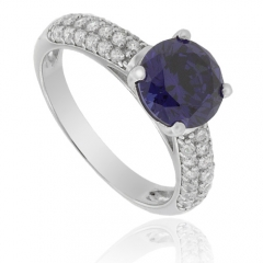 Solitaire Round-Cut Tanzanite Silver Ring