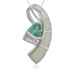 Trillion Cut Alexandrite with White Opal Silver Pendant.