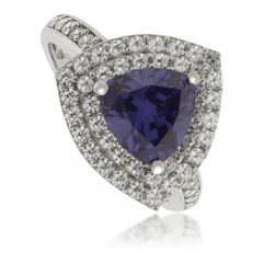 Trillion-Cut Tanzanite Sterling Silver Ring