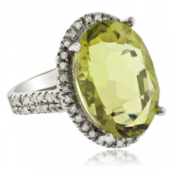 Vintage Natural Yellow Citrine 14K White Gold Ring