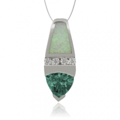 Trillion Cut Alexandrite and  White Opal Silver Pendant