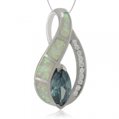 Marquise Cut Alexandrite and White Opal Silver Pendant