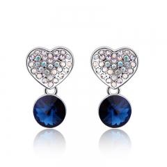 Blue Heart Swarovski Earrings