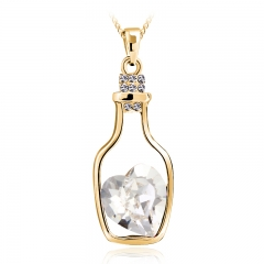 Bottle Necklace With White Heart