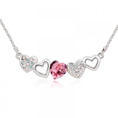 Beautiful Pink Swarovski Heart Necklace