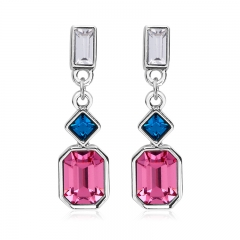 Pink Swarovski Crystal Earrings