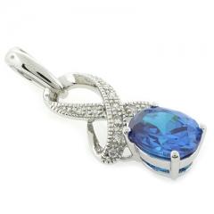 Blue Topaz Silver Pendant Oval Brilliant Cut