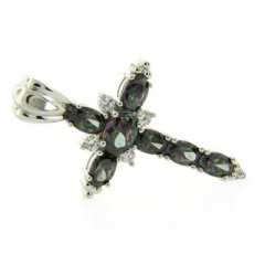Sterling Silver Rainbow Mystic Topaz Cross Pendant