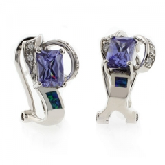 Opal Earrings with Emerald Cut Tanzanite
