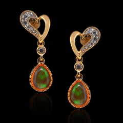 14K Gold Plated Quality Fire Opal Silver Earrings