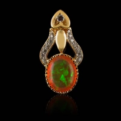 14K Gold Plated Quality Fire Opal Silver Pendant