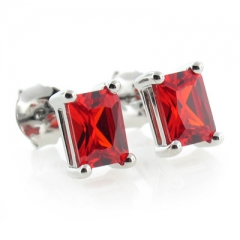 Silver Fire Cherry Opal Earrings Square For Pierced Ears