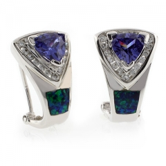 Omega Back Australian Opal with Tanzanite Earrings